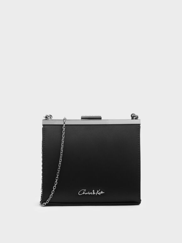 Satin Boxy Clutch, Black, hi-res