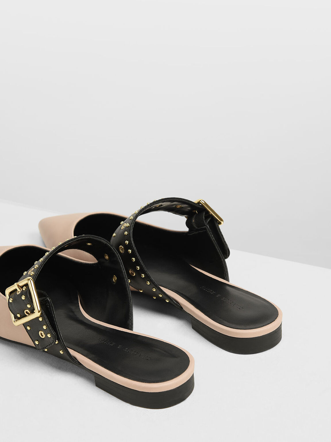 Studded Buckle Mules, Light Pink, hi-res