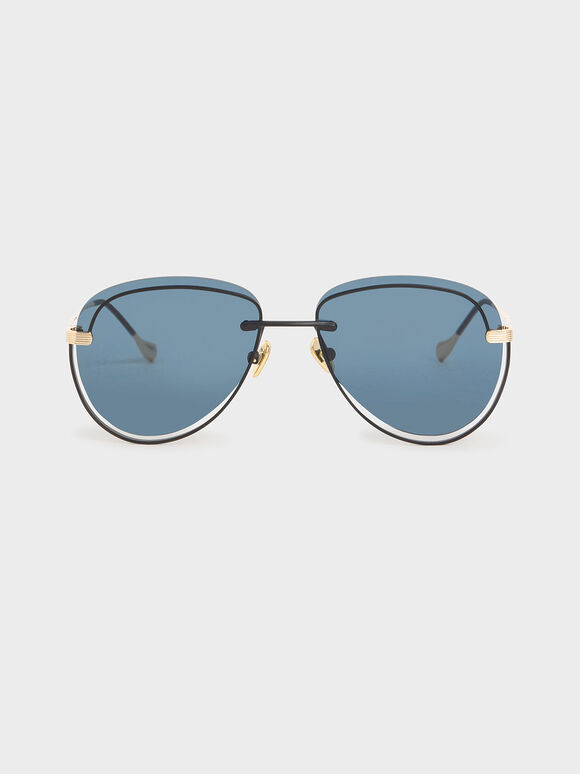 Cut-Out Tinted Sunglasses, Dark Blue, hi-res