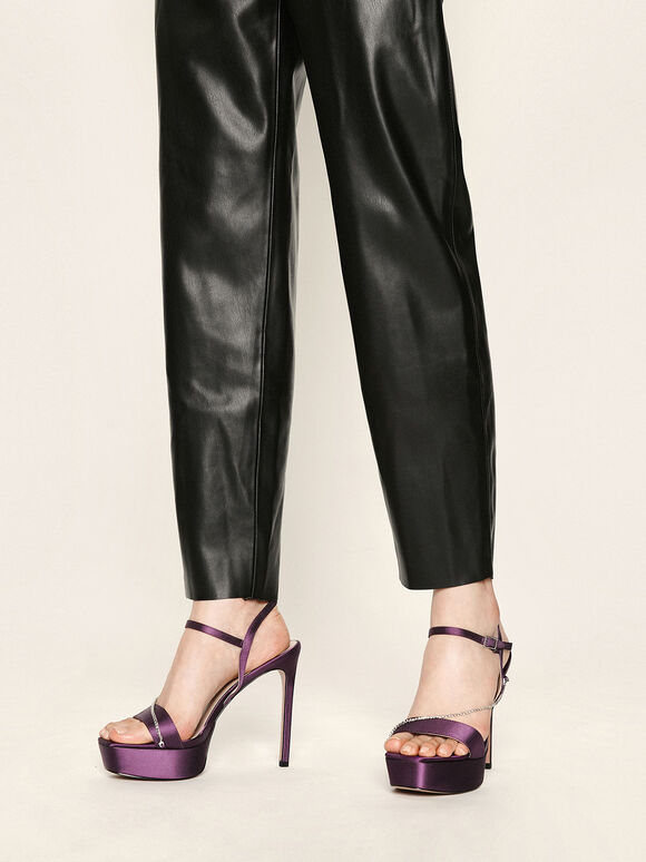 Satin Chain Link Platform Heels, Purple, hi-res
