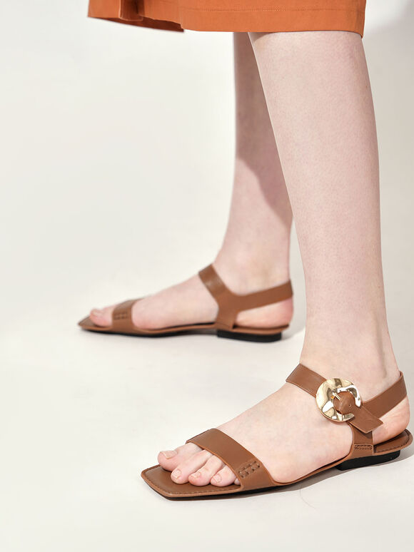 Leather Hammered Buckle Flats, Brown, hi-res