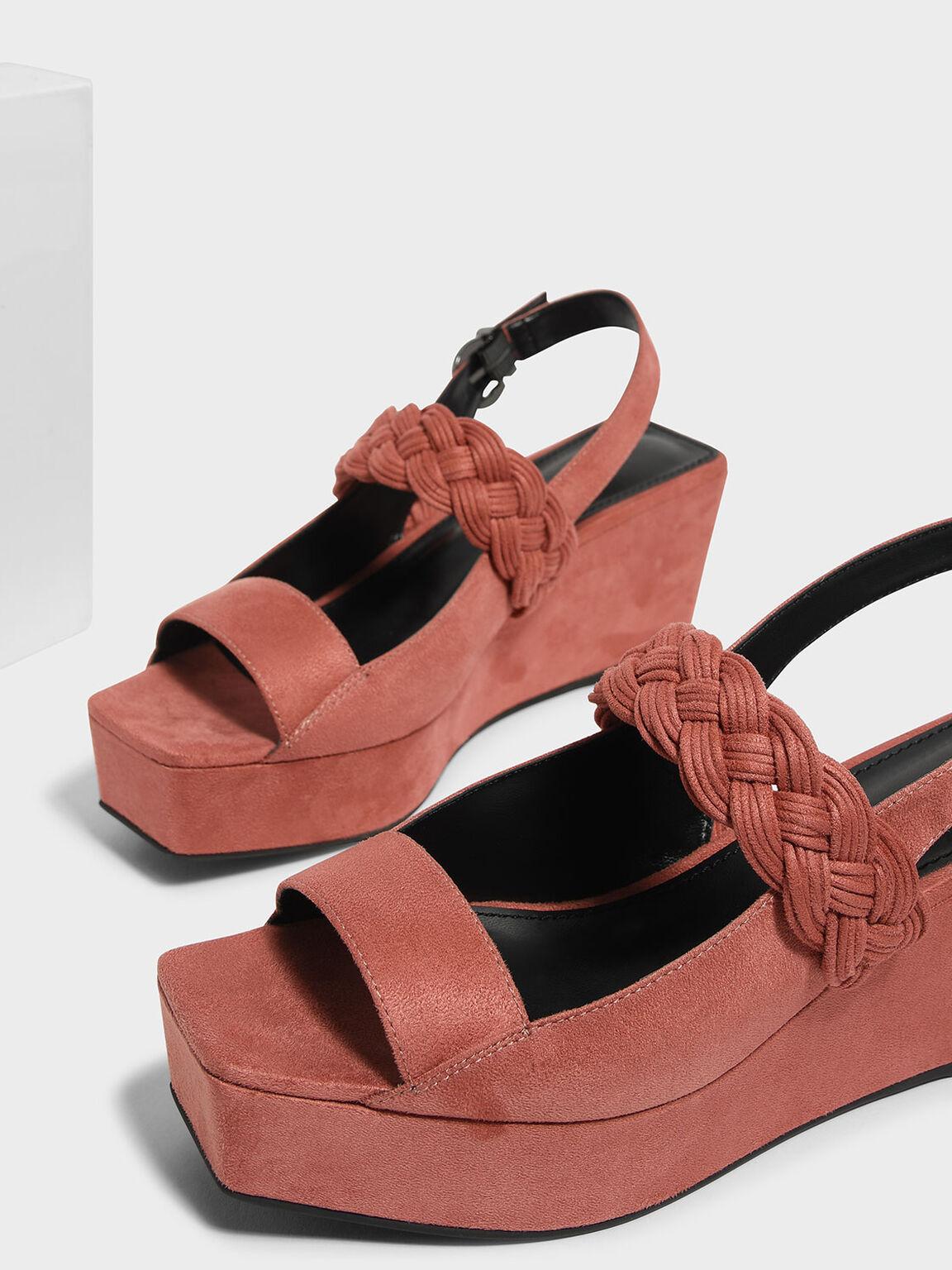 Braid Detail Slingback Wedges, Pink, hi-res