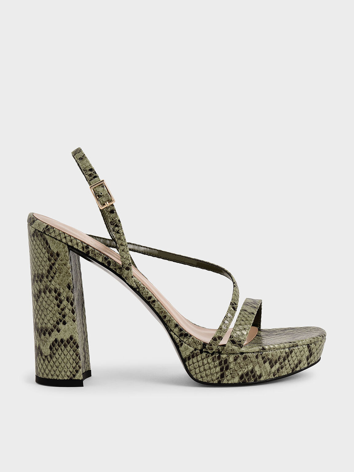Snake Print Strappy Platform Sandals, Animal Print Green, hi-res