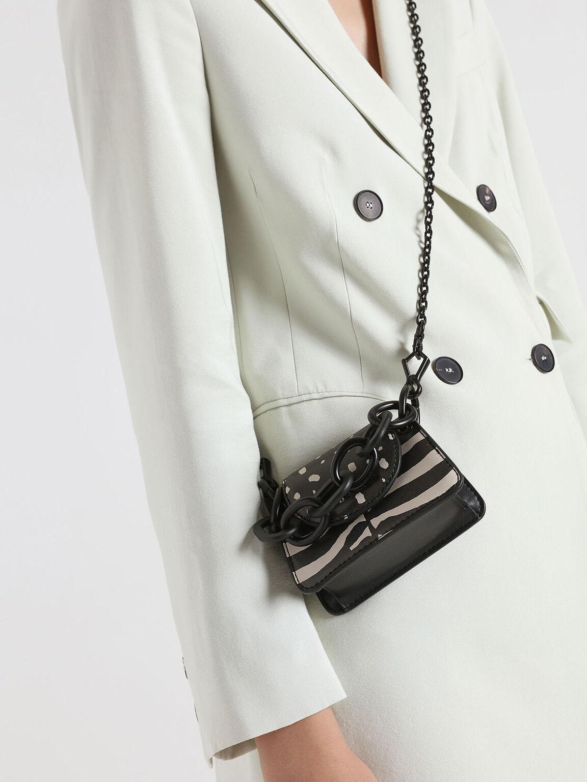 Croc-Effect Chunky Chain Handle Mini Bag, Multi, hi-res