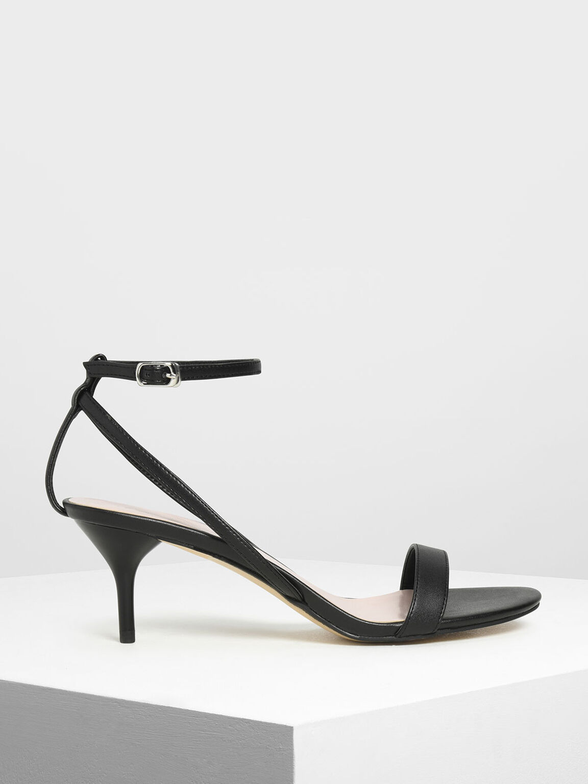 Classic Ankle Strap Sandals, Black, hi-res