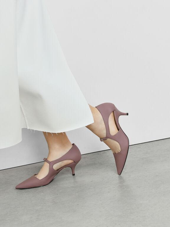 Front Buckle D'Orsay Heels, Purple, hi-res