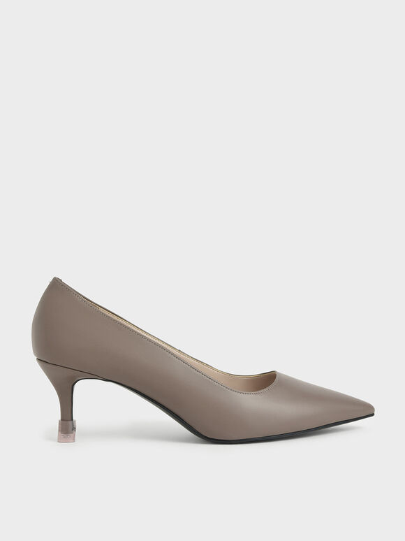 Mid Heel Pointed Toe Pumps, Taupe, hi-res