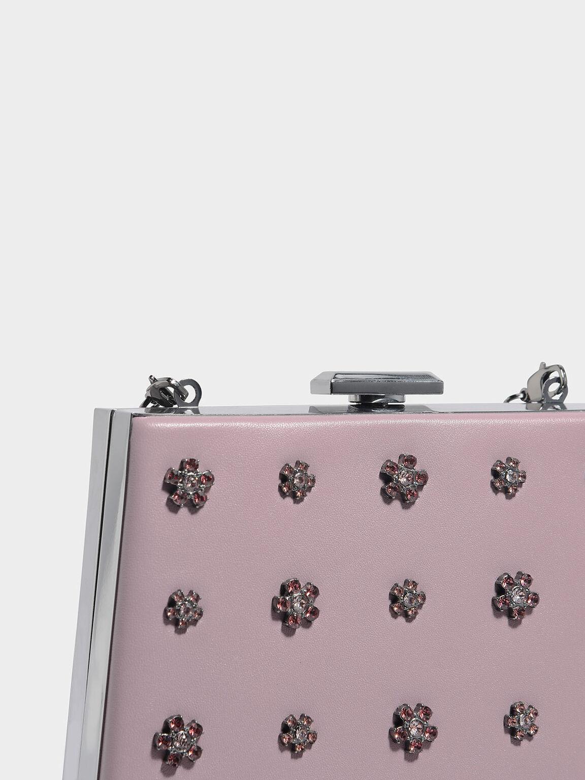 Embellished Leather Clutch, Lilac, hi-res