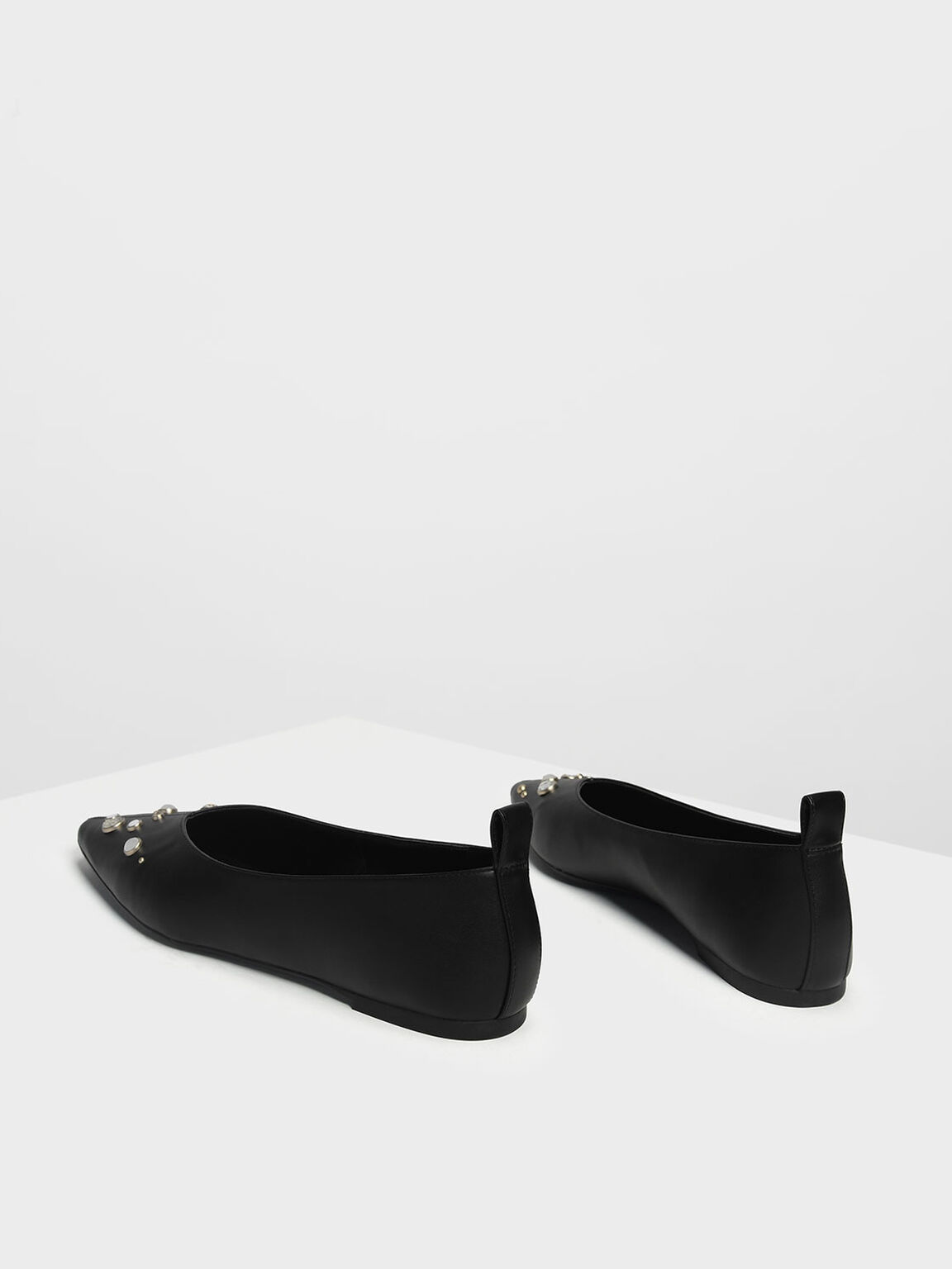 Embellished V Topline Pointed Flats, Black, hi-res