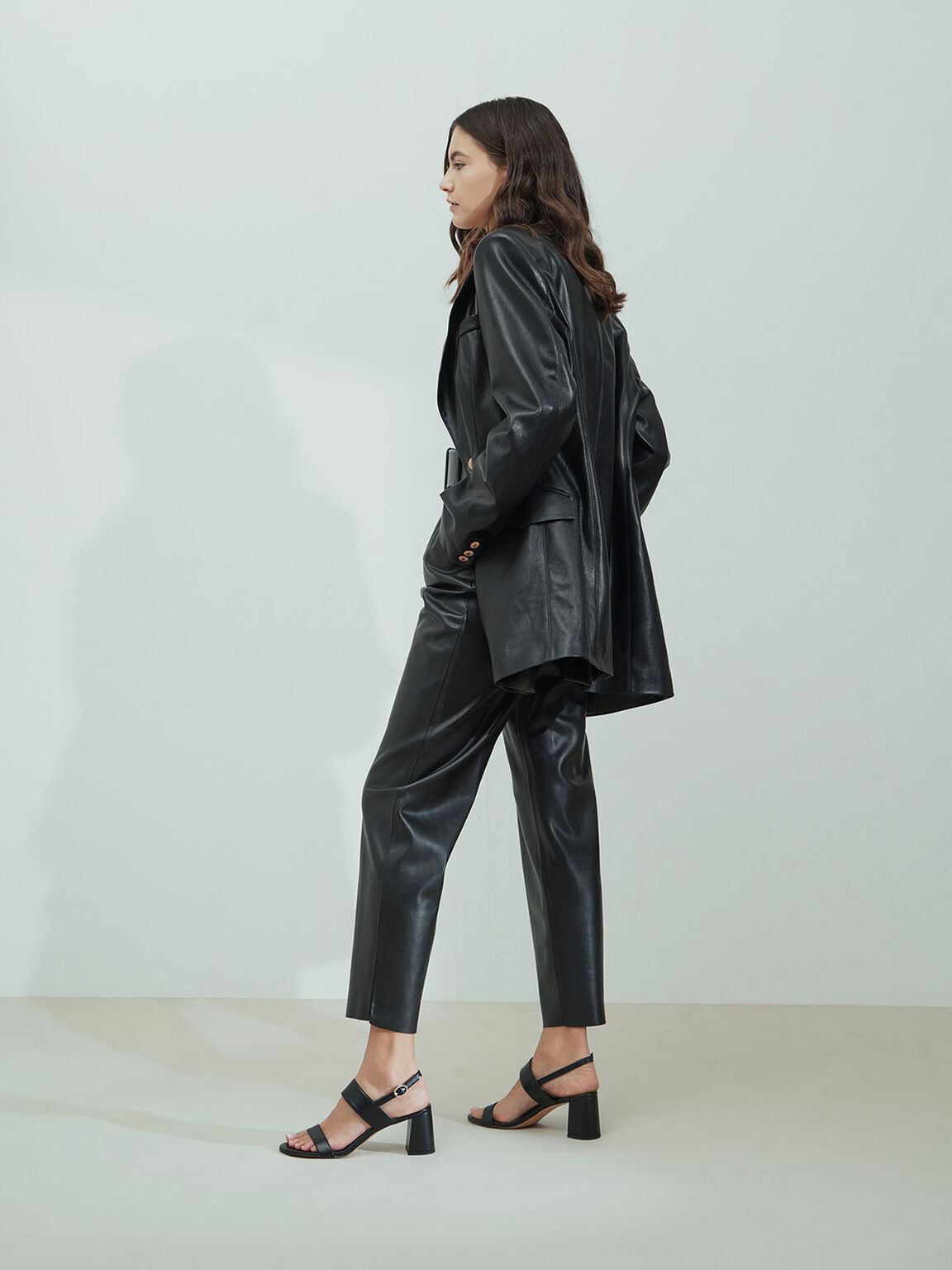 Slingback Heeled Sandals, Black, hi-res