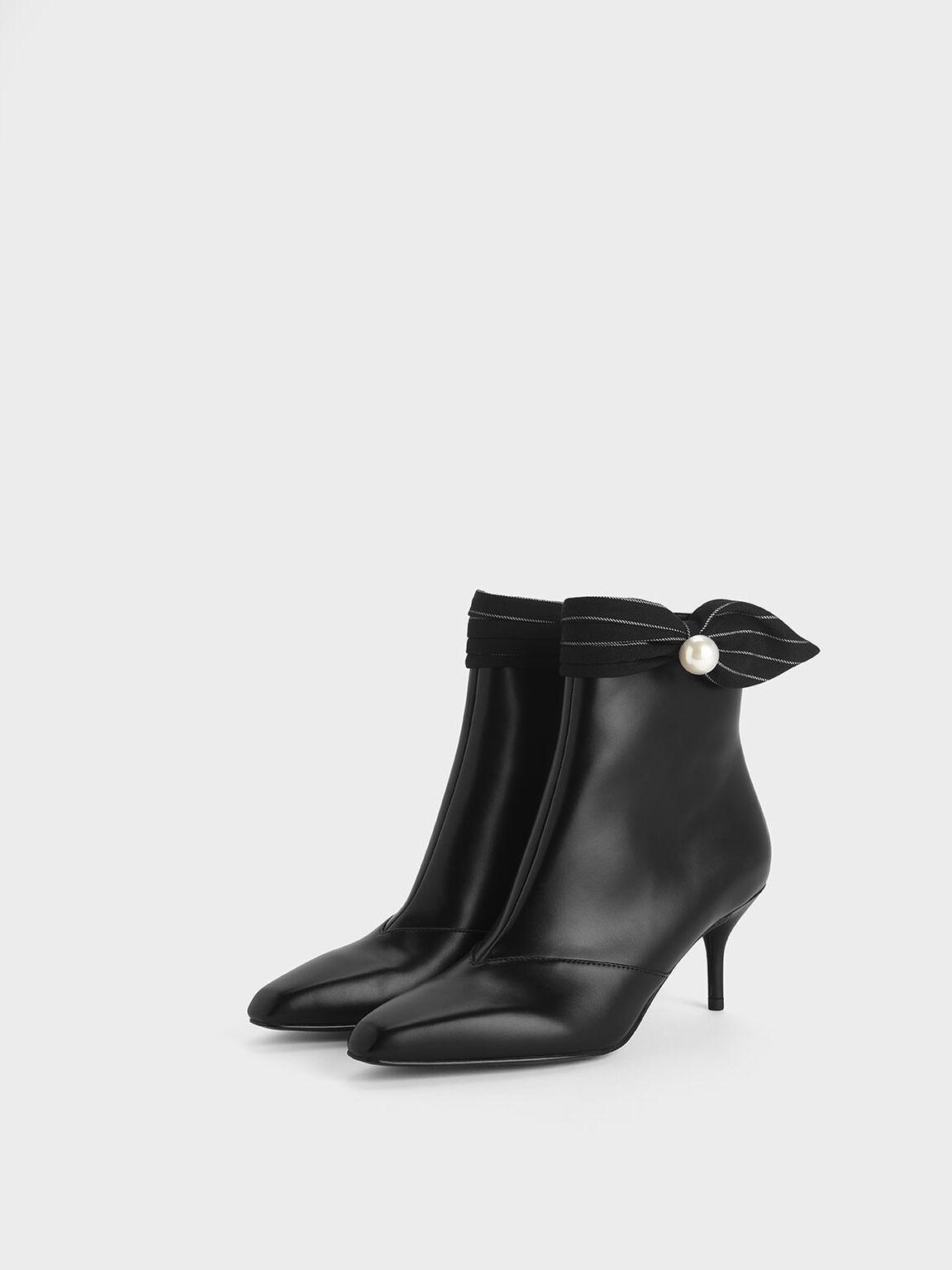 Pinstripe Ruched Embellished Ankle Boots, Black, hi-res