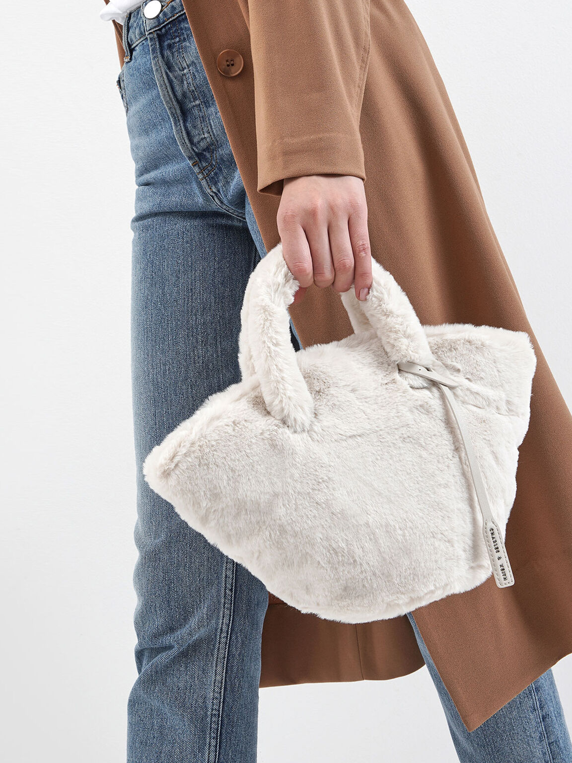 Textured Trapeze Bag, Cream, hi-res