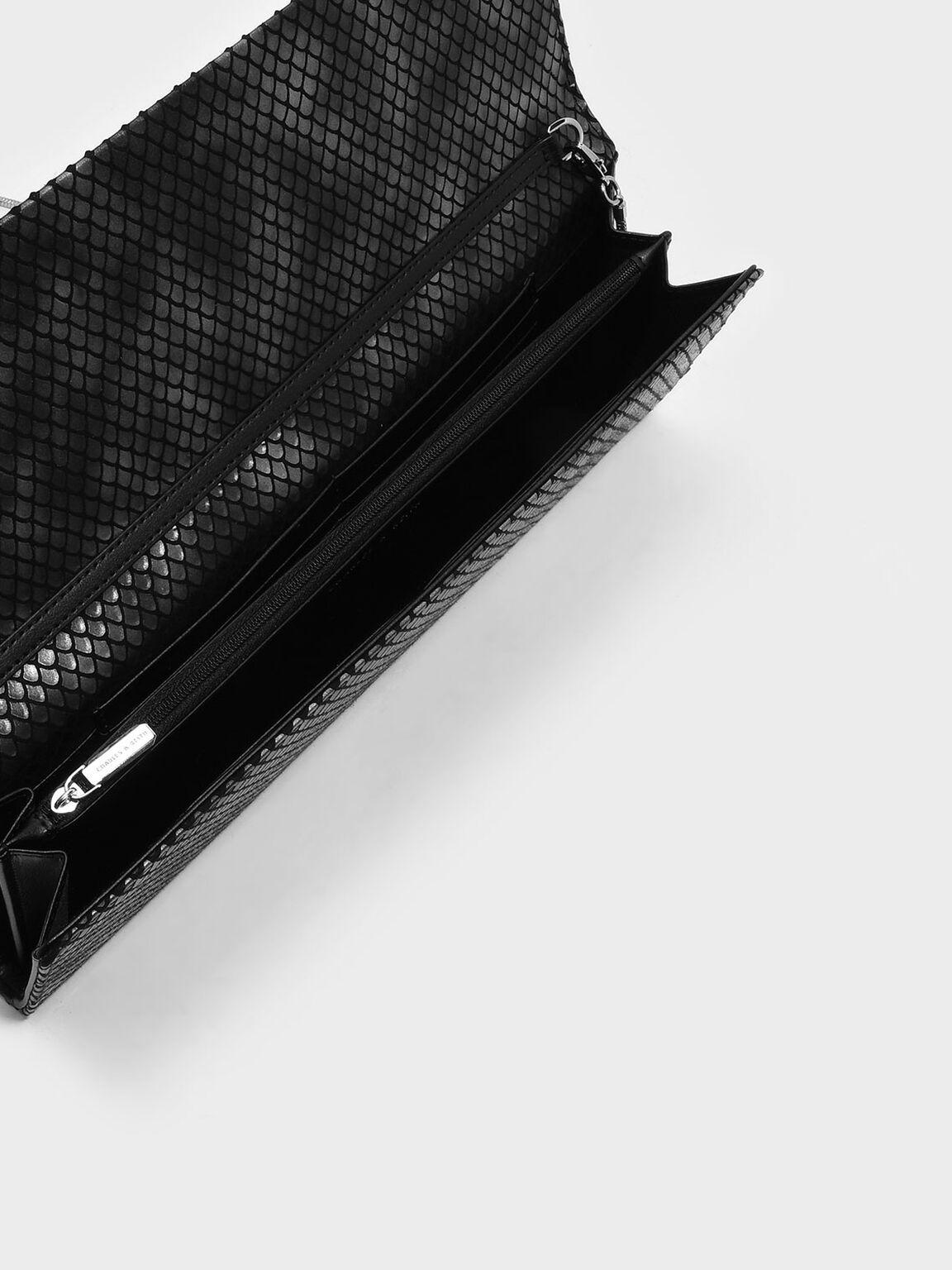Basic Front Flap Clutch, Black2, hi-res