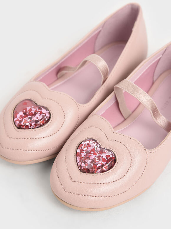 Girls' Sequin Heart Ballerina Flats, Nude, hi-res