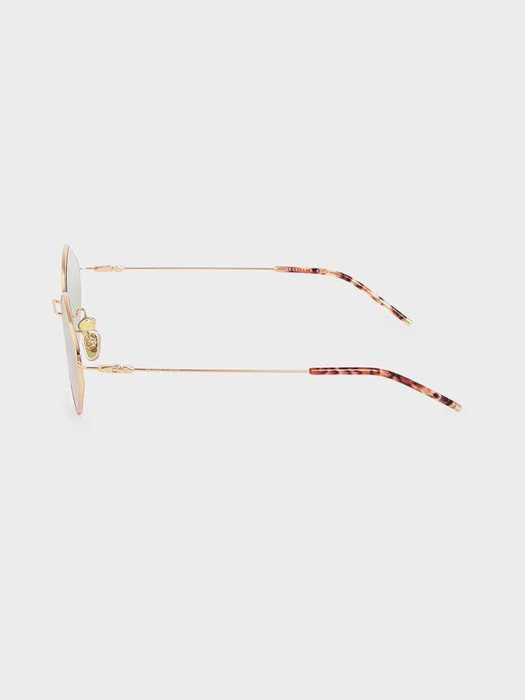 Thin Metal Frame Geometric Sunglasses, Green, hi-res