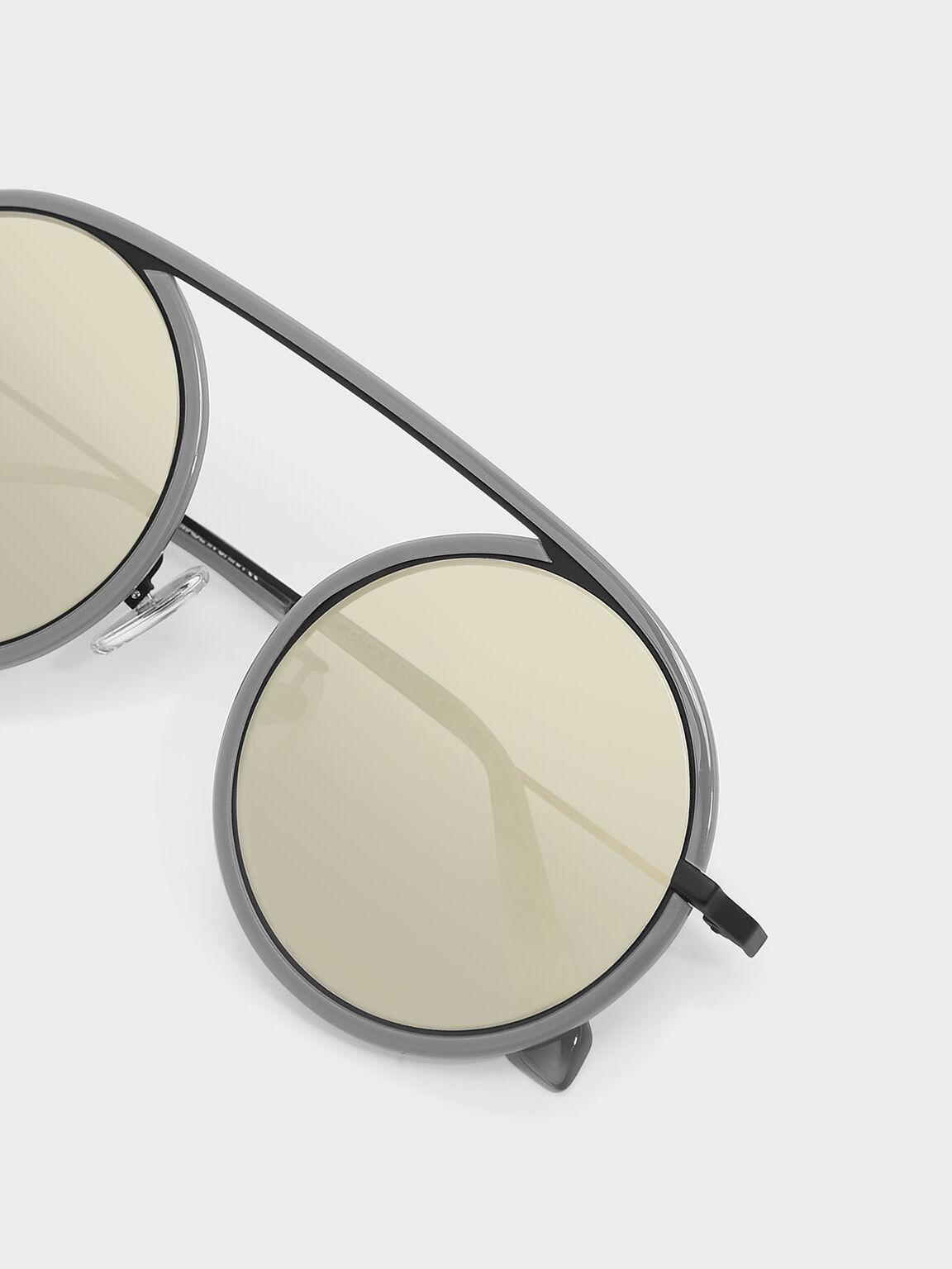 Acetate Round Frame Shades, Grey, hi-res