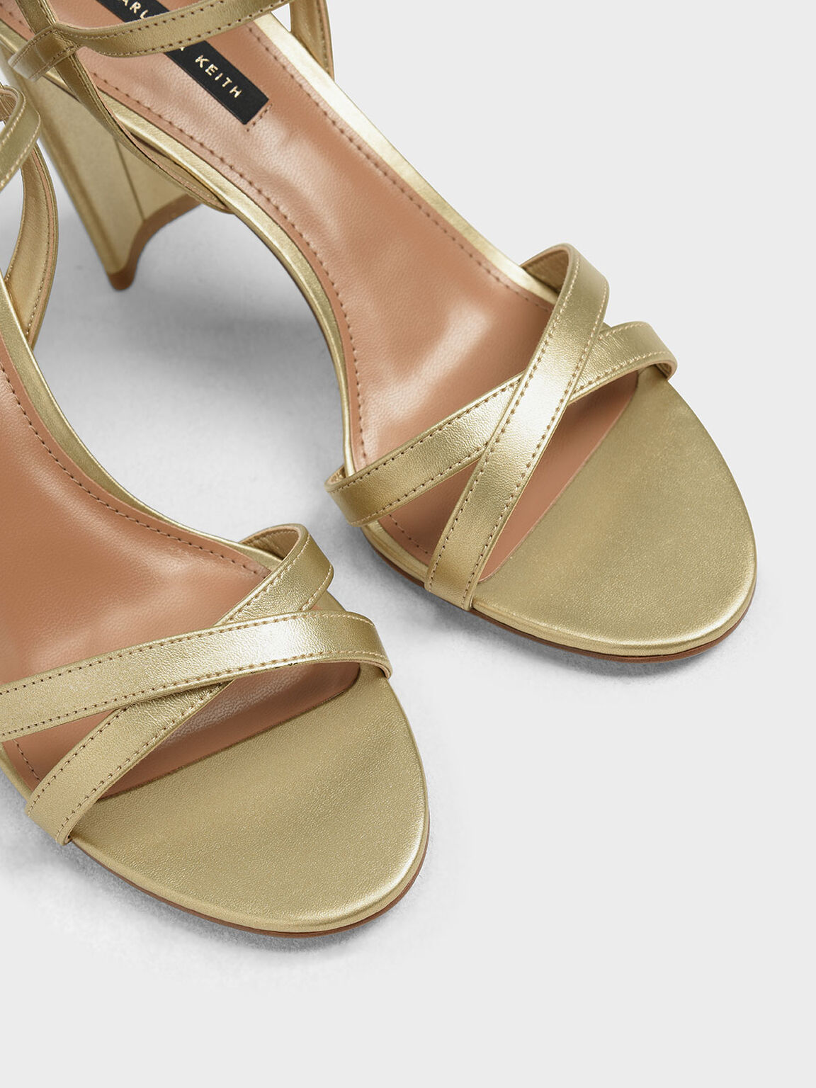 Curved Block Heel Strappy Sandals, Gold, hi-res