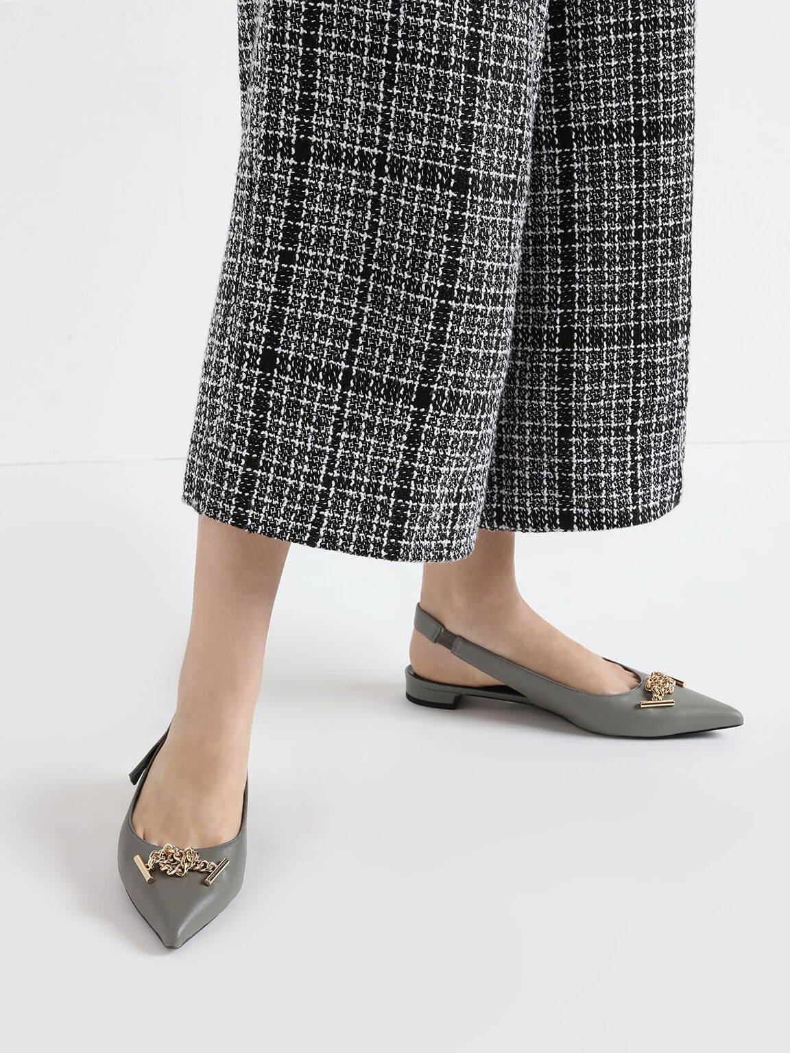 Knotted Chain Detail Leather Slingback Flats, Sage Green, hi-res