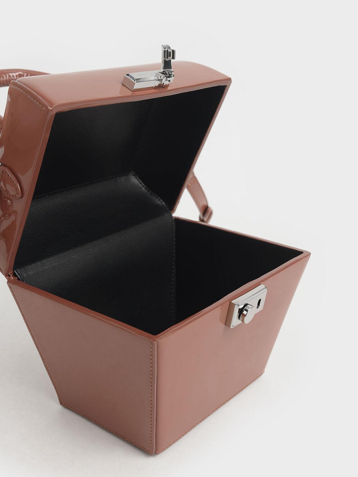 Patent Sculptural Top Handle Bag, Nude, hi-res