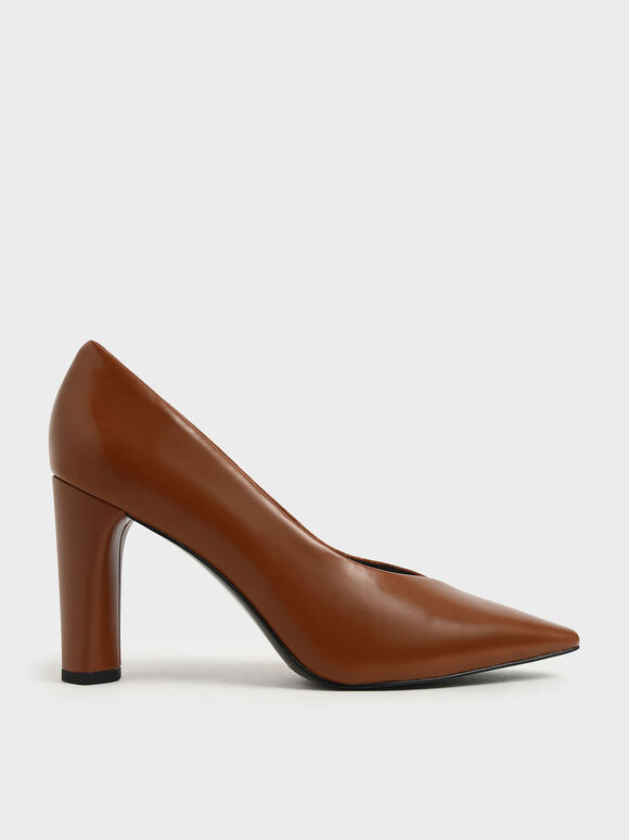 Two-Tone Textured Cylindrical Heel Pumps, Cognac, hi-res