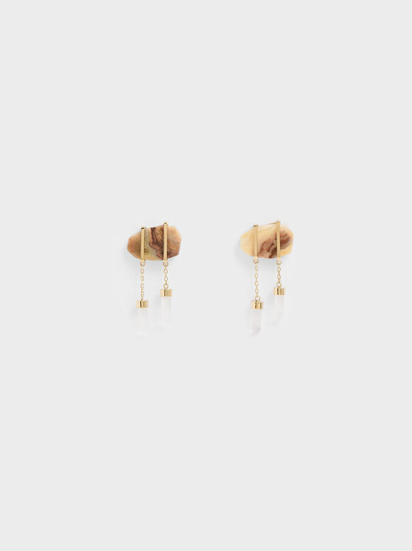 Crazy Agate Stone Drop Earrings, Gold, hi-res