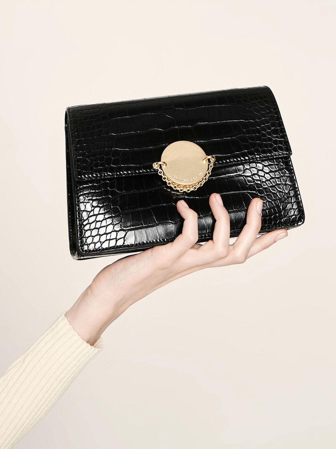 經典細鍊手拿包, 黑色, hi-res