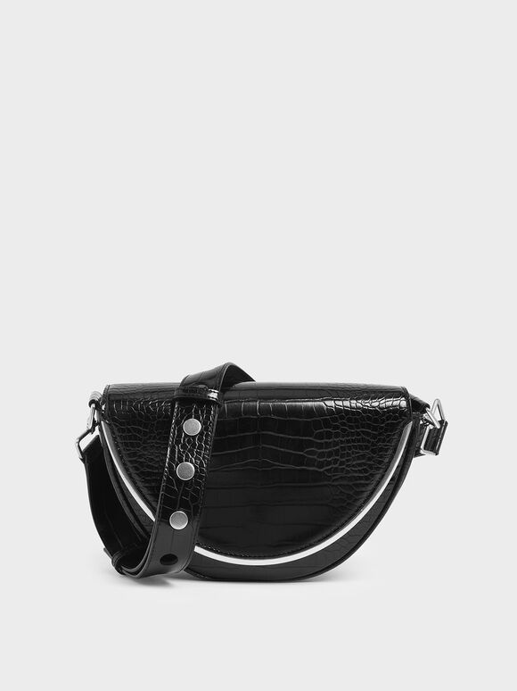Croc-Effect Semi-Circle Crossbody Bag, Black, hi-res