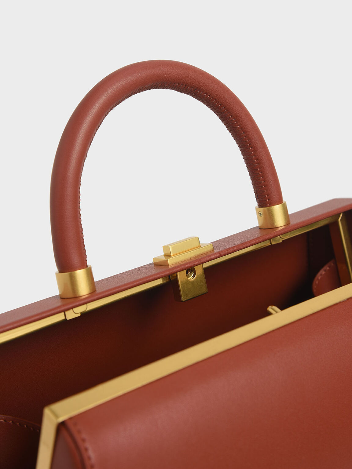 Large Accordion Top Handle Bag, Clay, hi-res