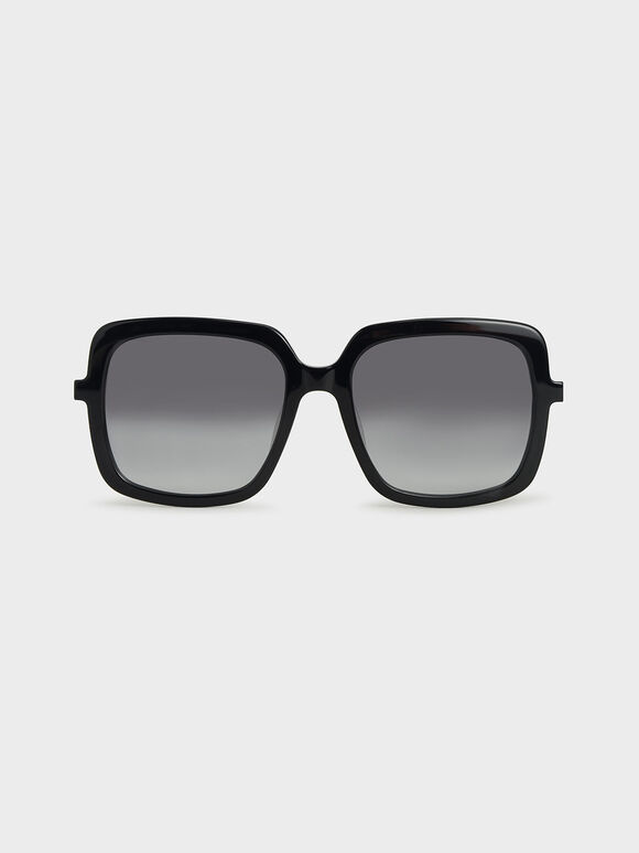 Square Acetate Sunglasses, Black, hi-res