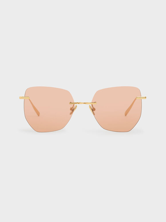 Rimless Geometric Sunglasses, Orange, hi-res