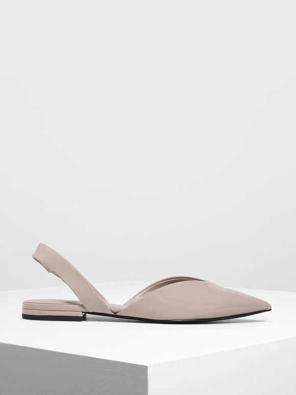 V-Cut Patent Slingback Flats, Nude, hi-res
