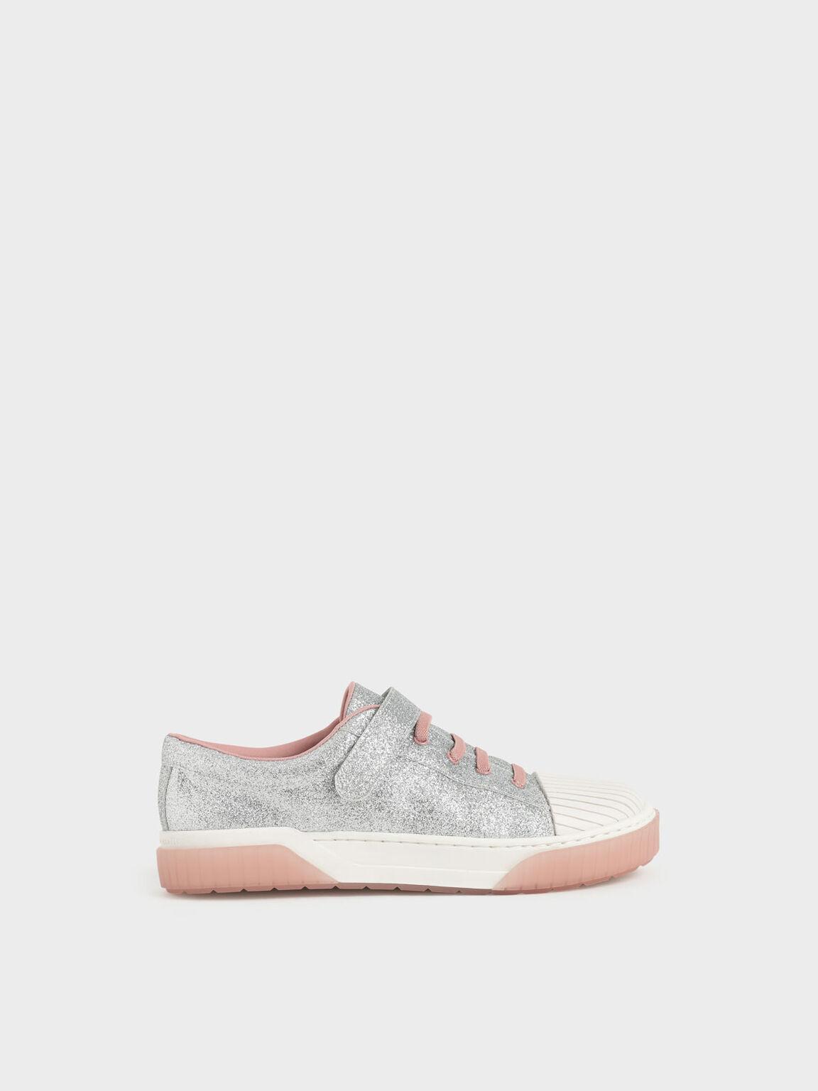 Girls' Glitter Platform Sneakers, Silver, hi-res