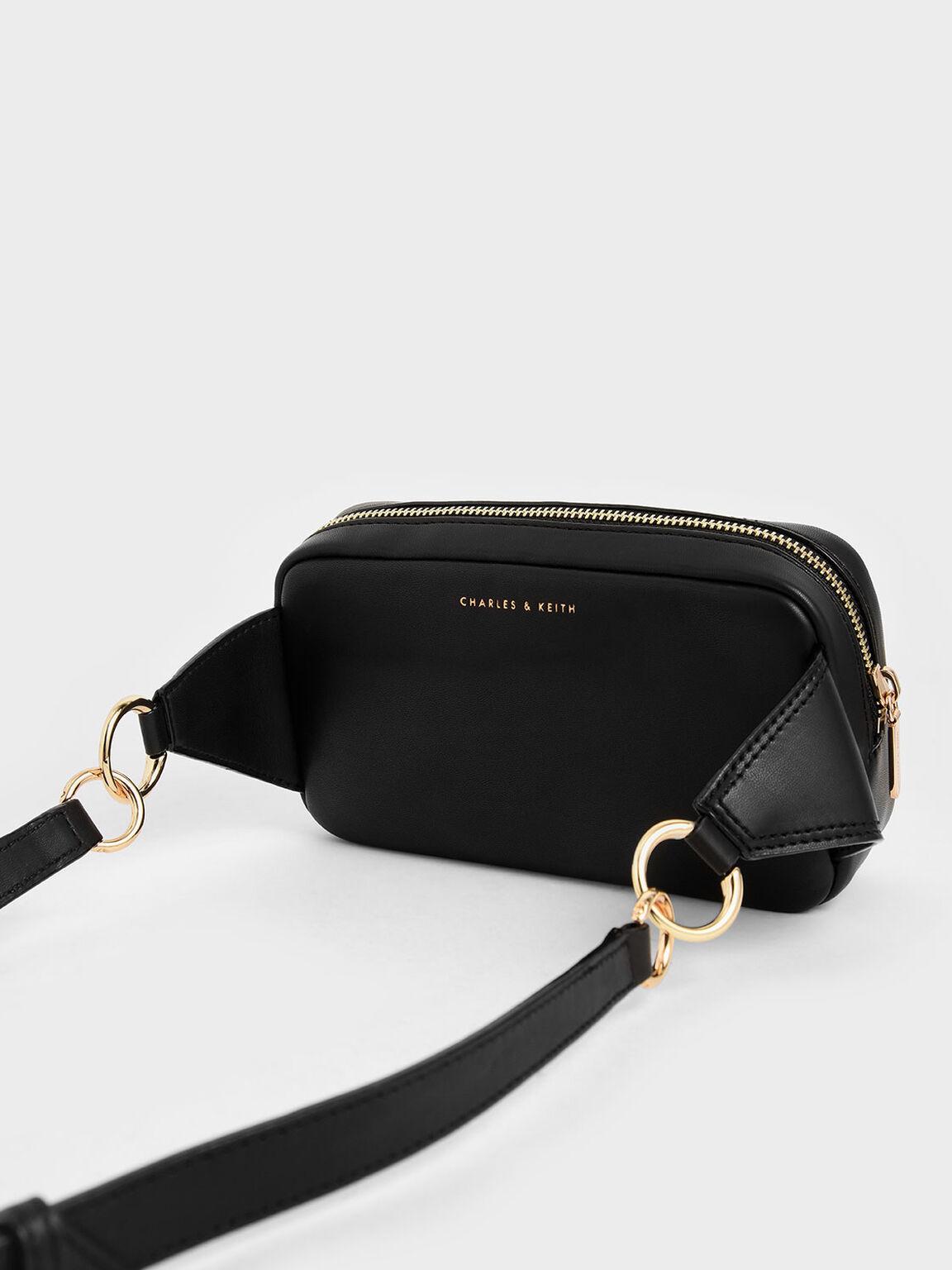Quilted Rectangular Belt Bag, Black, hi-res