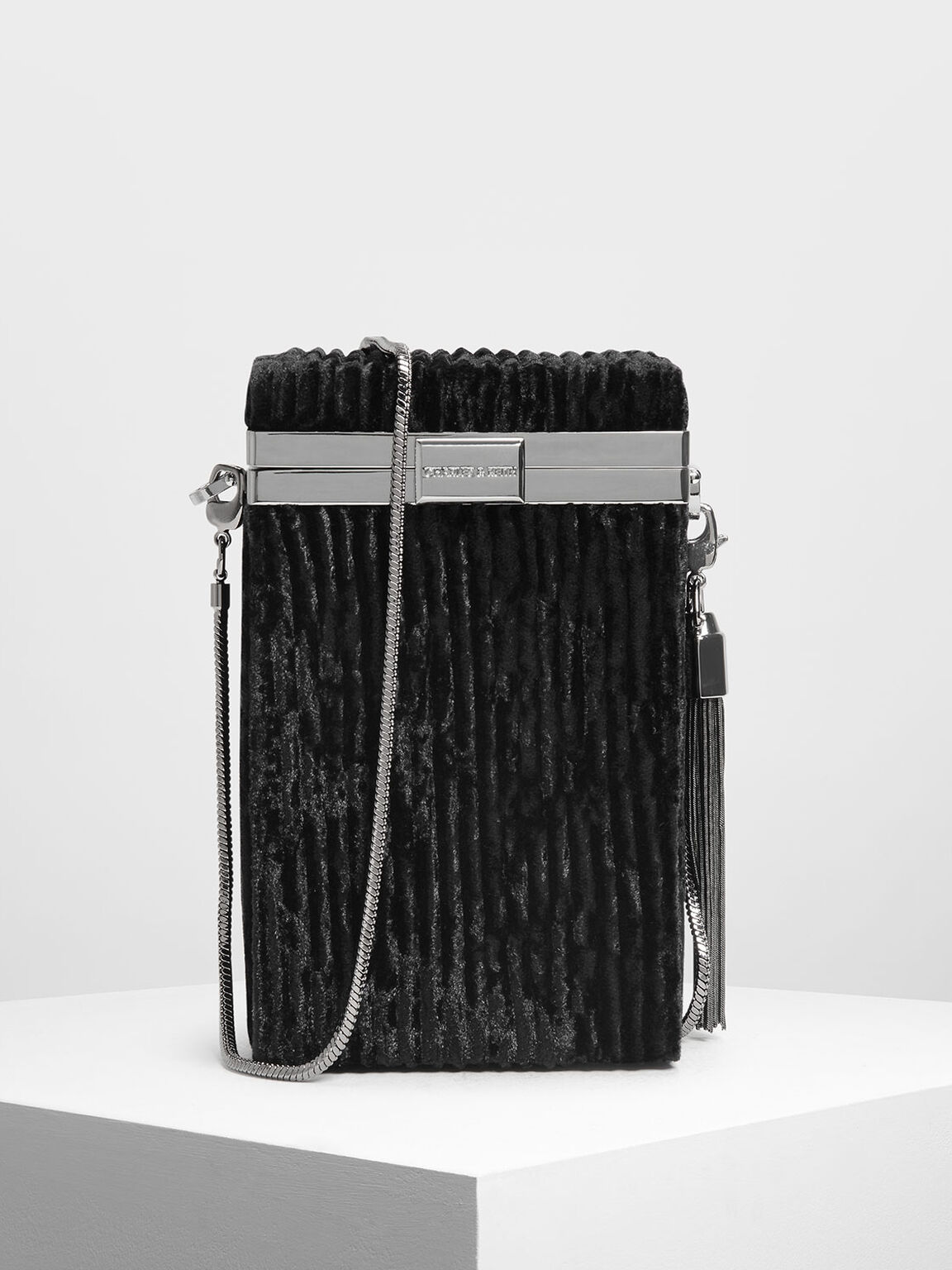 Metallic Tassel Detail Boxy Clutch, Black, hi-res