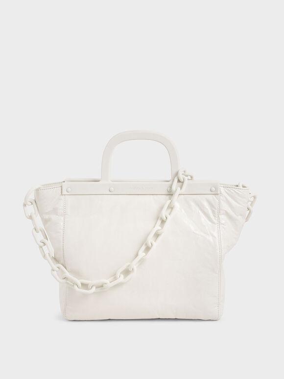 Large Patent Tote Bag, White, hi-res