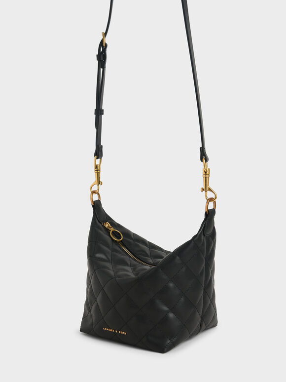 Quilted Hobo Bag, Black, hi-res