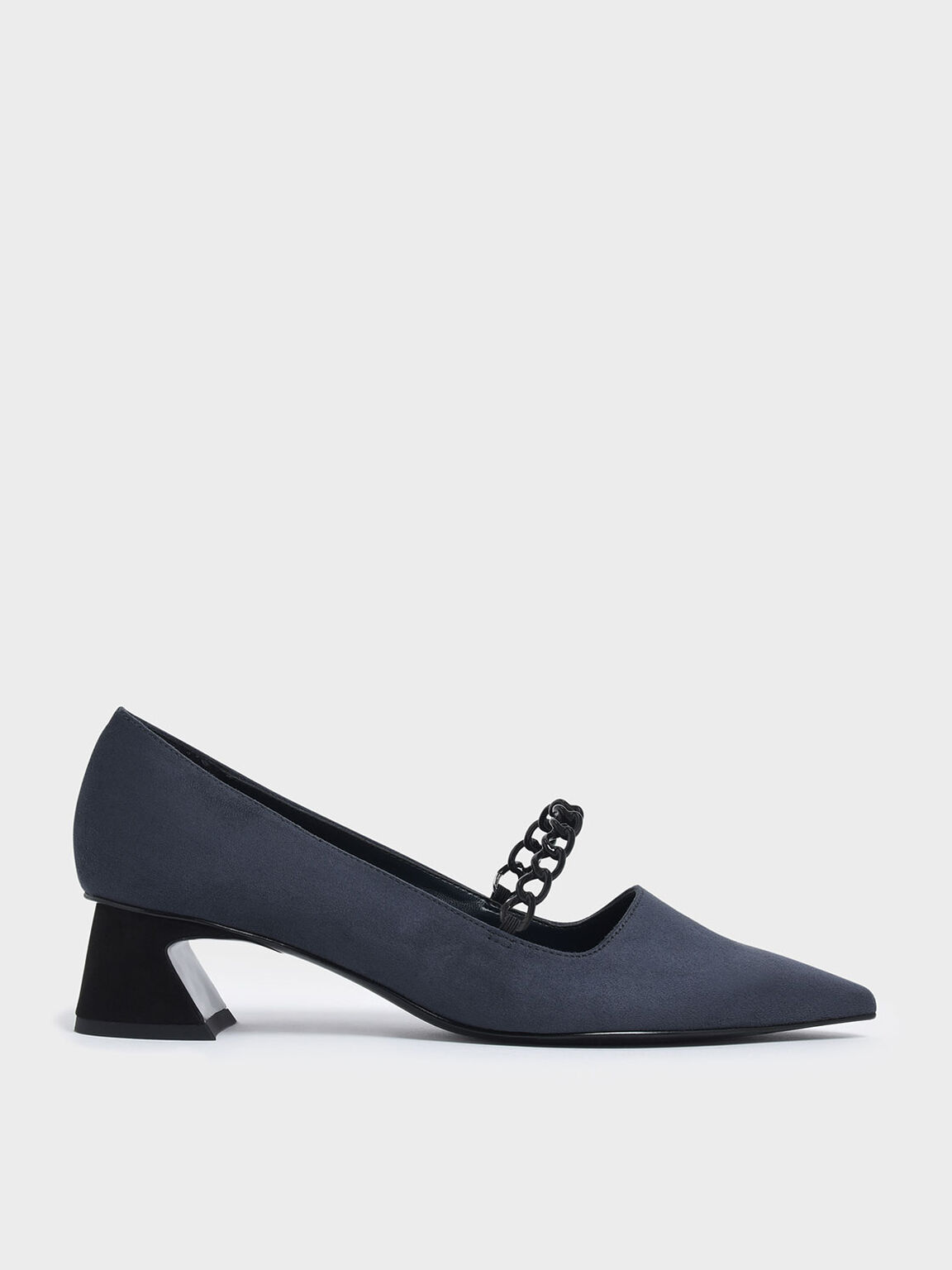 Chain Strap Curved Block Heel Mary Jane Pumps, Dark Blue, hi-res