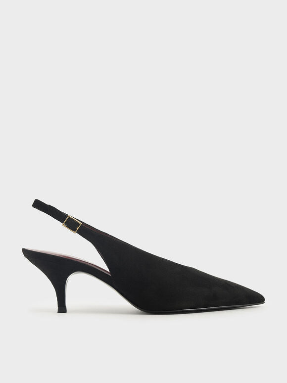 Textured Pointed Toe Slingback Pumps, Black Textured, hi-res