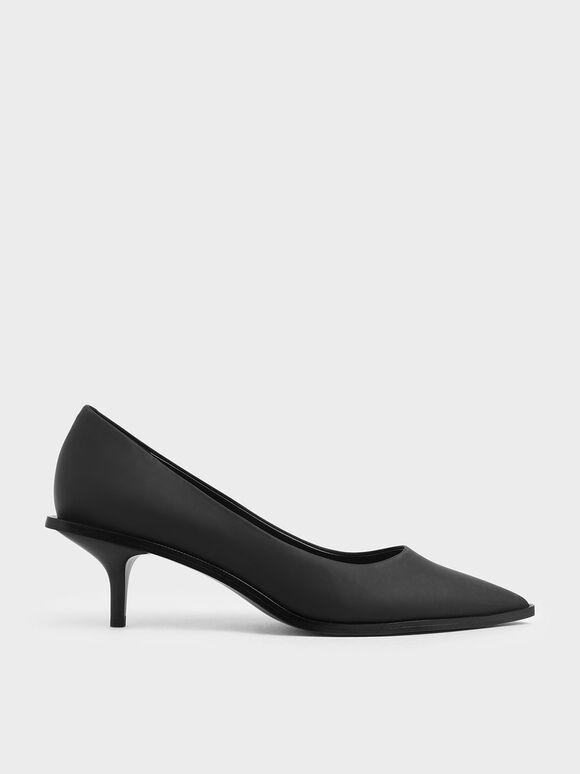 Pointed Toe Mini Heel Pumps, Black, hi-res
