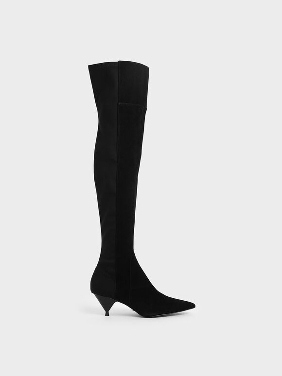 Thigh High Boots (Kid Suede), Black, hi-res