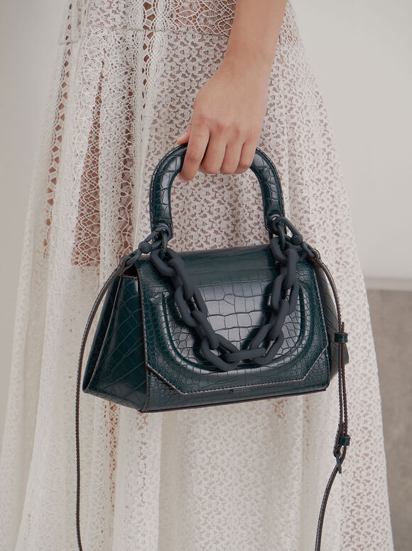 Croc-Effect Chunky Chain Handbag, Teal, hi-res