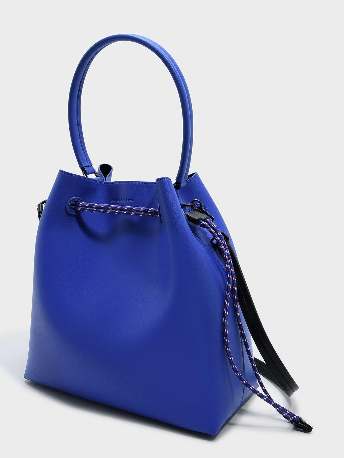 Top Handle Bucket Bag, Blue, hi-res
