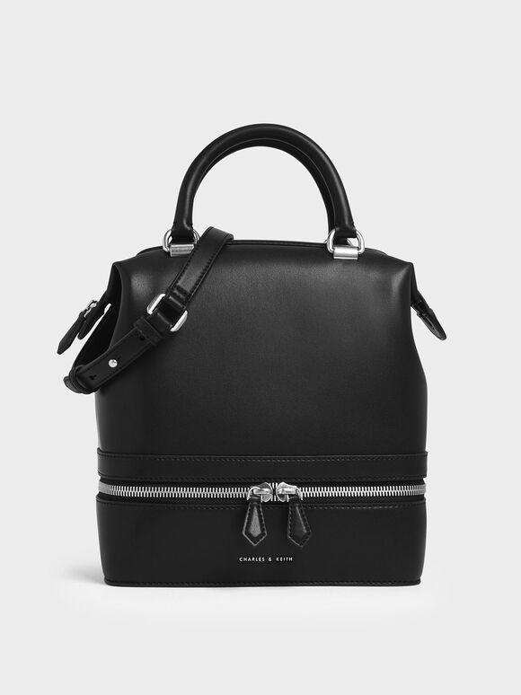 Wrinkled Patent Two-Way Zip Large Boxy Bag, Black, hi-res