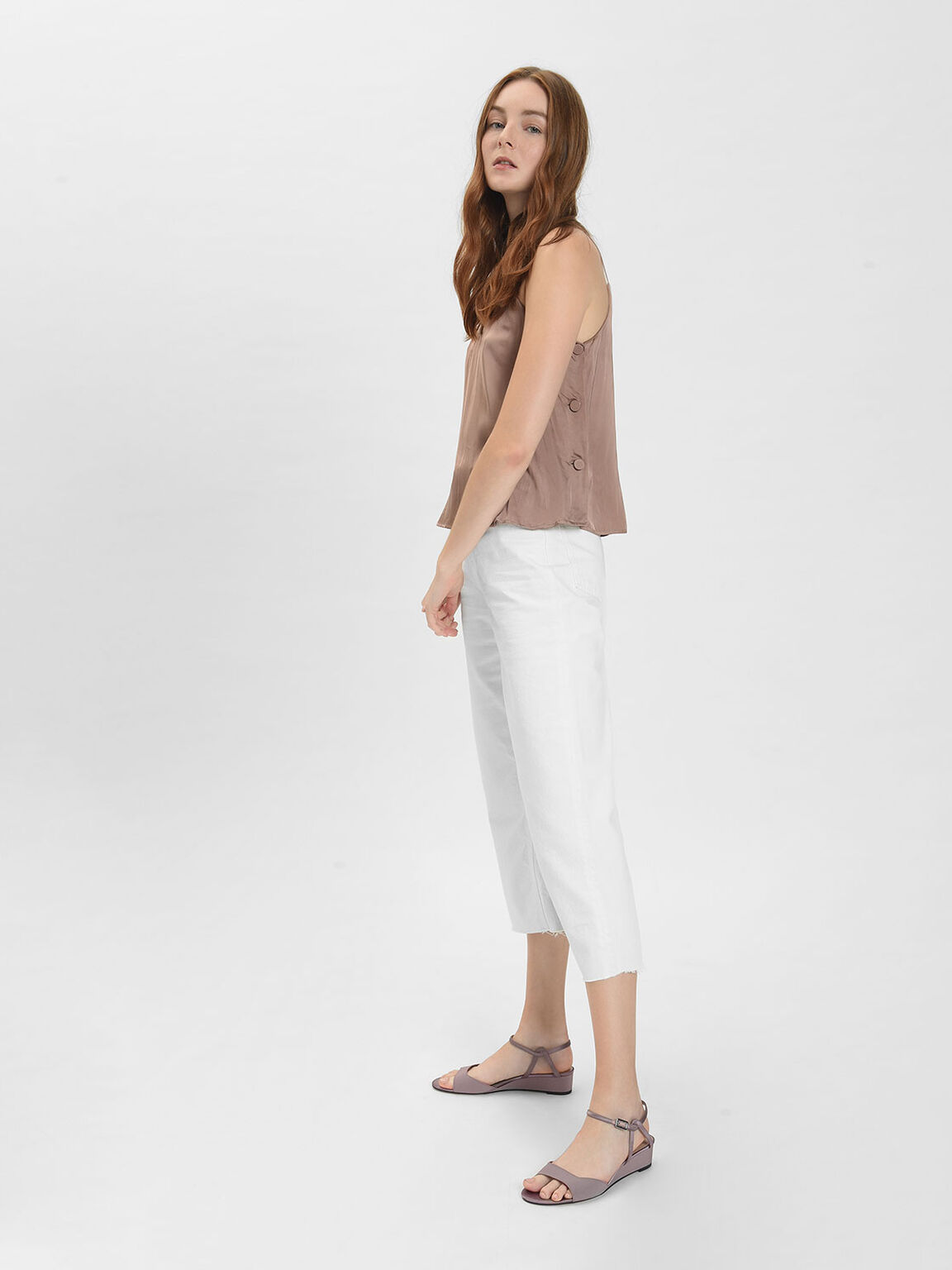 Low Wedge Sandals, Nude, hi-res