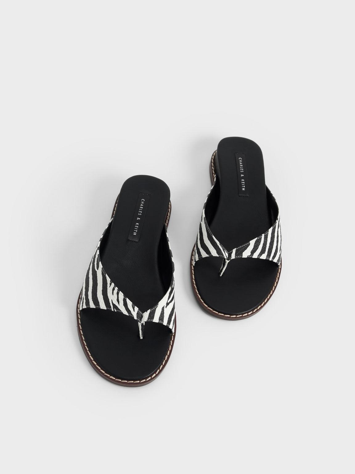 夾腳楔型拖鞋, 原色動物紋, hi-res