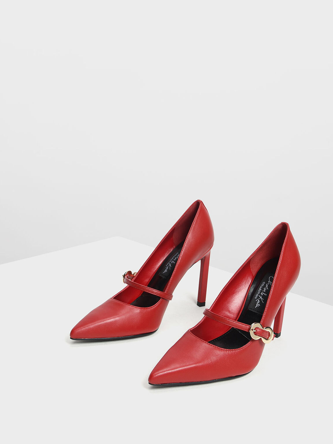Leather Infinity Buckle Mary Jane Pumps, Red, hi-res