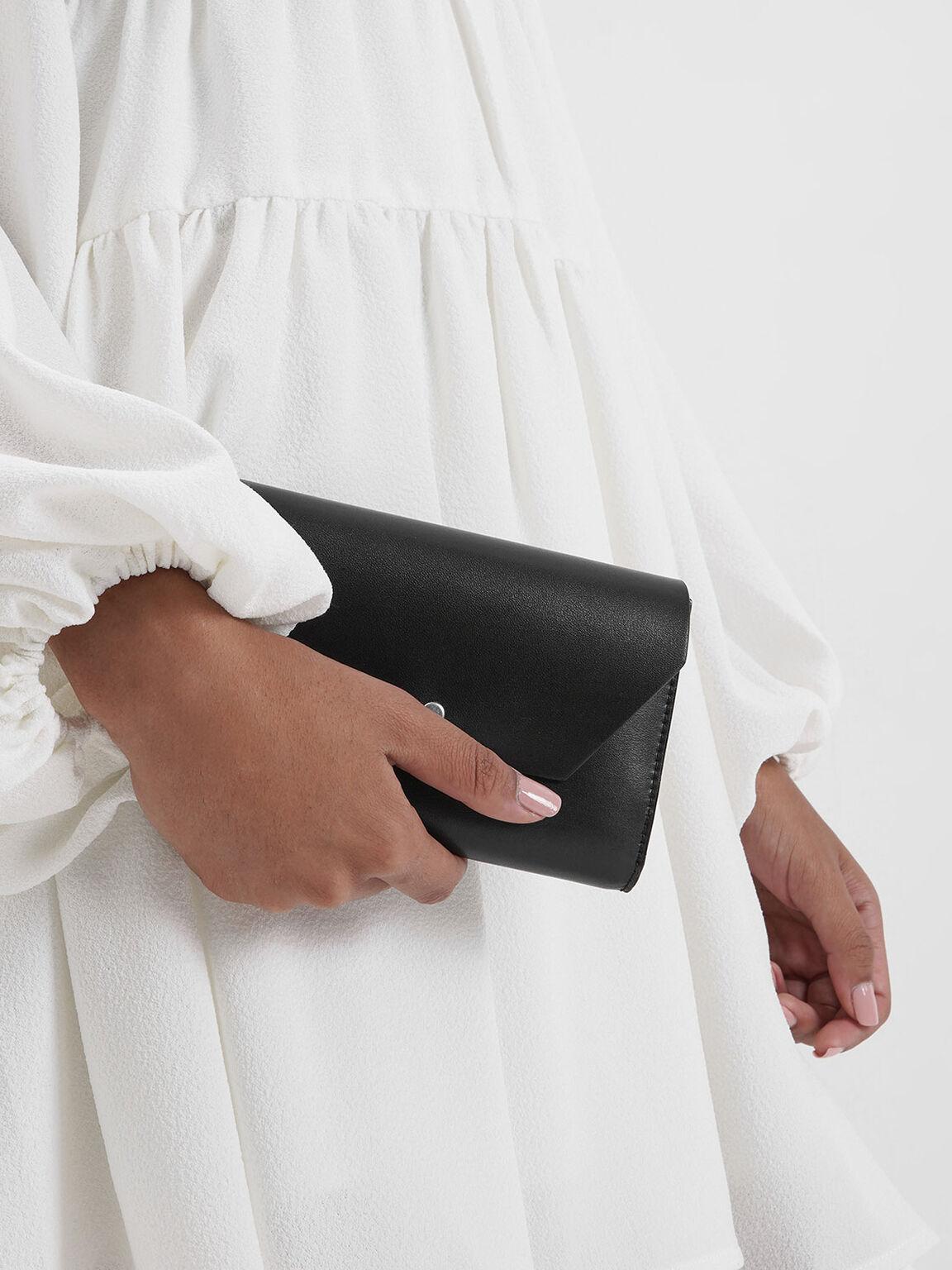 Reversible Front Flap Passport Holder, Black, hi-res