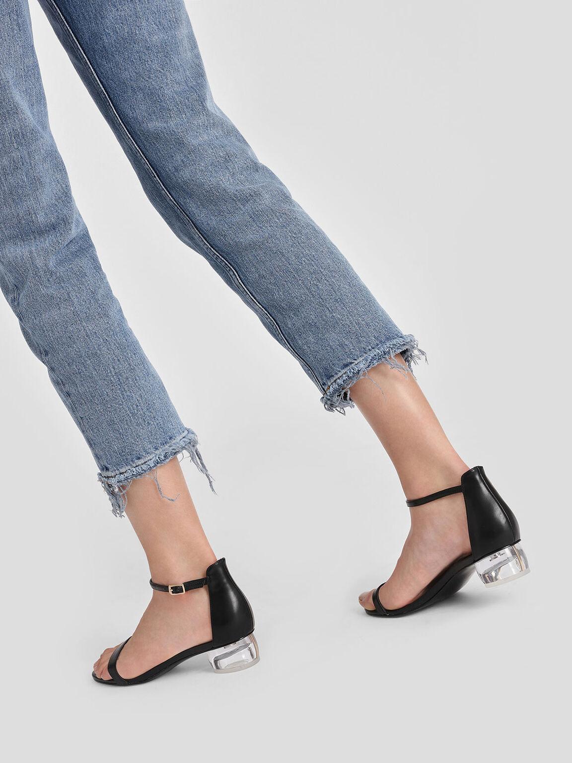 Lucite Heel Ankle Strap Sandals, Black, hi-res