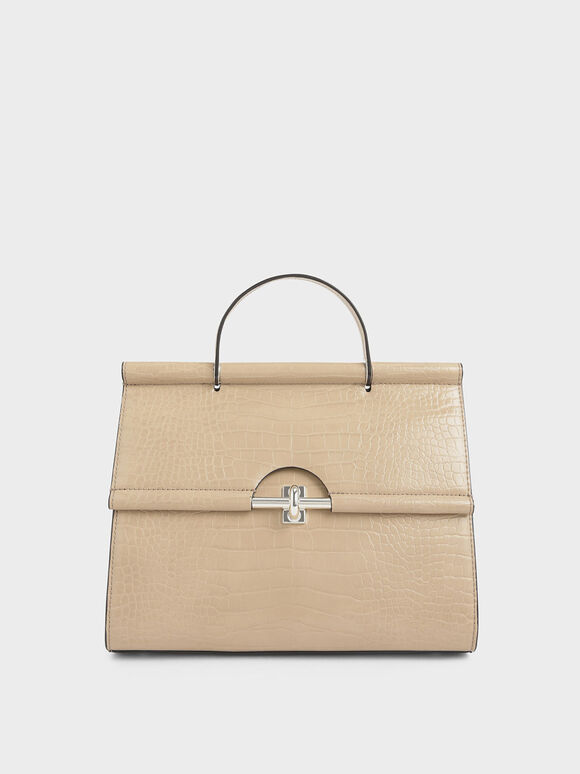 Croc-Effect Structured Single Top Handle Bag, Beige, hi-res