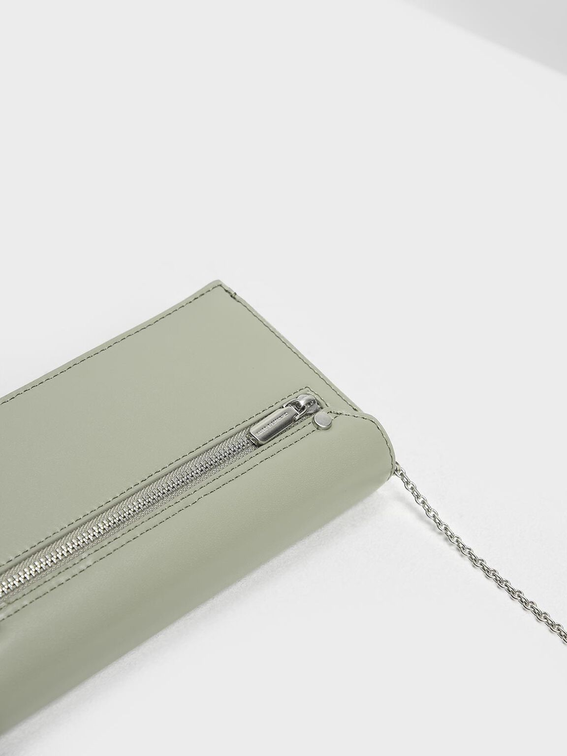 Chain Link Long Wallet, Sage Green, hi-res